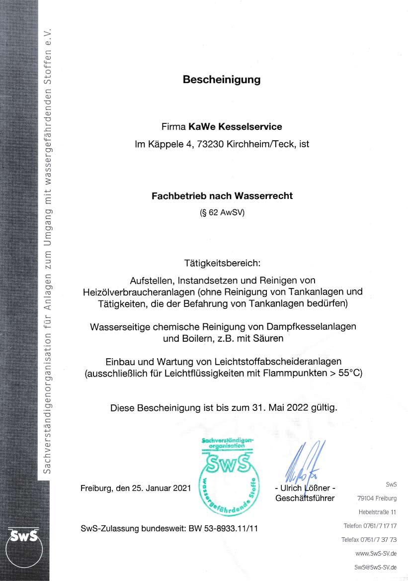 KAWE Zertifikat